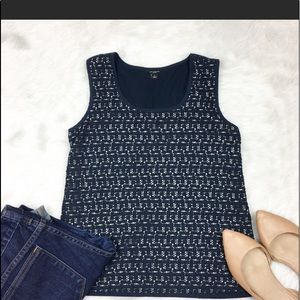 Ann Taylor Navy Cotton Lace Over Nude Lining Top